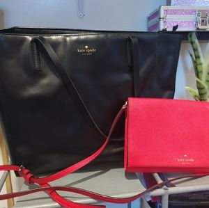 Kate Spade black leather tote & red crossbody lot